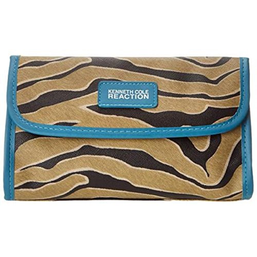 Kenneth Cole Reaction Womens Zebra Print Cosmetic Bags Brown Medium