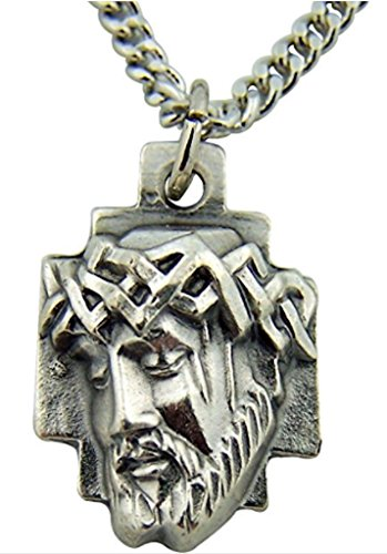 Silver Tone Crown of Thorns Sorrowful Head of Jesus Christ Cross Medal | 1 (Jesus Christ Head)