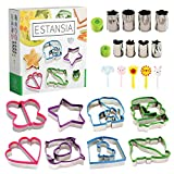 ESTANSIA Stainless Steel Sandwich Cutter Set for Kids - 8 Bread and Cookie Cutters - 8 Vegetable, Cheese, Fruit Stencils - 5 Food Picks, Forks for Bento Box. Food Stamps Perfect Gift for Every Family