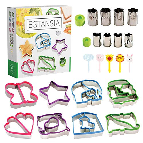 ESTANSIA Stainless Steel Sandwich Cutter Set for Kids - 8 Bread and Cookie Cutters - 8 Vegetable, Cheese, Fruit Stencils - 5 Food Picks, Forks for Bento Box. Food Stamps Perfect Gift for Every Family by Estansia