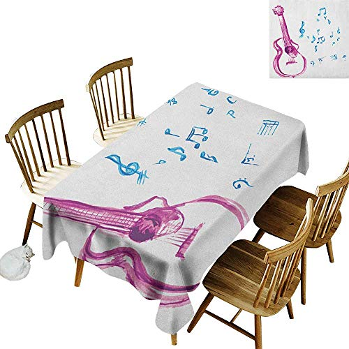 kangkaishi Waterproof Anti-Wrinkle no Pollution Long Tablecloth Watercolor Musical Instrument with Notes Sheet Elements Brush Stroke Effect W52 x L70 Inch Magenta Blue White ()