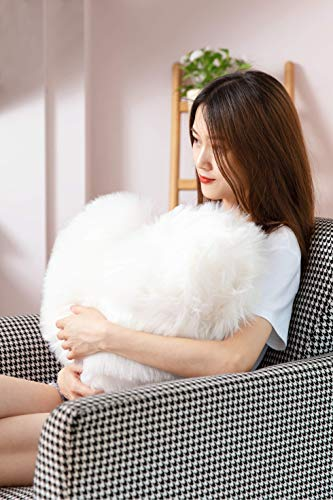 Rally Goods White Oversize Fluffy Heart Shape Throw Pillow (16x20 inch) with Insert, Ultra Plush Double-Sided Faux Fur Sheepskin, for Adding Accents to Home, Couch, Bedroom, Living Room, Nursery - Pillow Shaped Heart