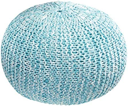 iDesign Cotton Knitted Cable Style Pouf Foot Rest