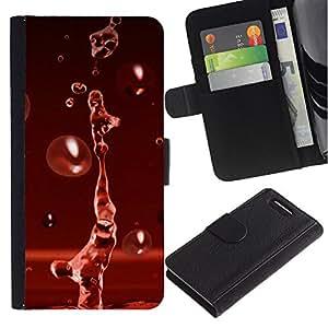 JackGot ( Red Water Drop Rosso Splash ) Sony Xperia Z1 Compact / Z1 Mini (Not Z1) D5503 la tarjeta de Crédito Slots PU Funda de cuero Monedero caso cubierta de piel