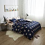 LELVA Cute Cats Duvet Cover Set Kids Bedding for Boys and Girls Reversible Beige and Black 3 Piece Cats Bedding (Twin, Flat Sheet Set)