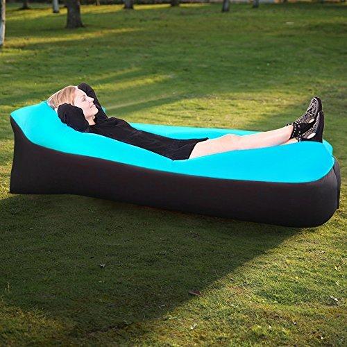 Waitiee Sofá hinchable resistente al agua con con con cojín integrado, color azul, adecuado para viajes o ir de cámping 71ffd0