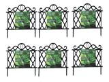 SET OF 6 BLACK PLASTIC GARDEN BORDER FENCE EDGING LATTICE FENCING PATH ORNAMENTAL