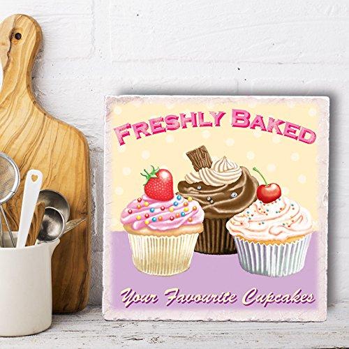 Marble Trivet or Wall Art Tile - Freshly Baked Cupcakes Design