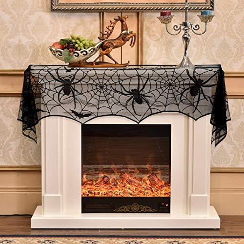 Halloween Fireplace Decoration, JTS Halloween Mantle Scarf with Spiderweb Shape, Halloween Fireplace Cover with Black Lace for Halloween Mantle Decorations]()
