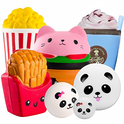 7 Pack Squishies Jumbo Slow Rising Toys Cat Hamburger Fries Panda Bun Popcorn Coffee Cup Easter Egg Stuffers Cream Scented Party Favors Stress Reliever GiftBox for Boys Girls Kids Adults by Symfury
