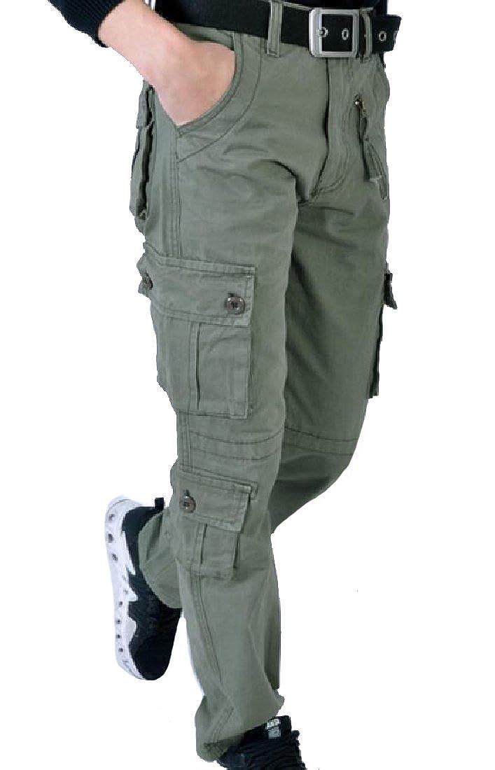 VITryst-Men Combat Straight-Fit Middle Rise Western Wide Leg Pants