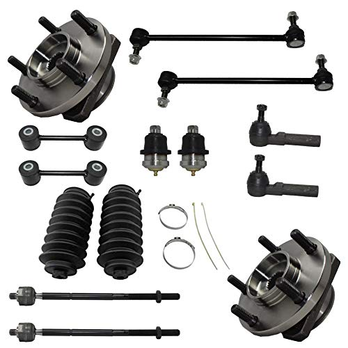 Plymouth Voyager Ball Joint - Detroit Axle - 14PC Front Wheel Bearing & Hub w/Ball Joints, Sway Bars, Inner Outer Tie Rods and Rack Boots for 1996-2000 Plymouth (Grand) Voyager/Chrysler Town&Country/Dodge (Grand) Caravan