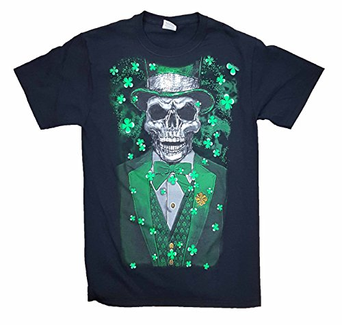 T-shirt Man Laughing - St. Patrick's Day Laughing Leprechaun Skull Graphic T-Shirt - Medium