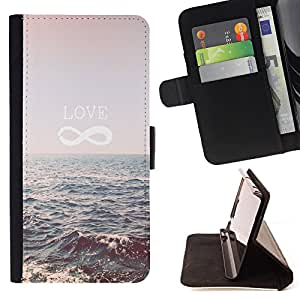 Dragon Case- Caja de la carpeta del caso en folio de cuero del tir¨®n de la cubierta protectora Shell FOR Samsung Galaxy S4 IV I9500 i9508 i959- Love Sea