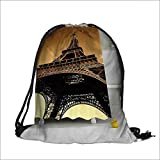printing Drawstring Gift Bag lecti Romantic of France Bathroom with Hooks for Travel,Family,Dorm 13.5''W x 16''H
