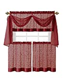 GoodGram® Linen Leaf 4 Piece Embroidered Kitchen Curtain Set (Burgundy)