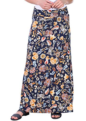 Jersey Maxi Long Skirt - Popana Womens Casual Long Convertible Print Maxi Skirt Plus Size - Made in USA DT18 XL