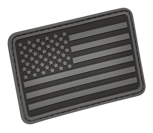 Hazard 4 (PAT-USA-L-BLK) US Flag Rubber 3D Morale Patch, Left Arm, ()