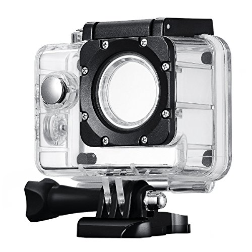 Waterproof Video Camera Housing (Pictek Waterproof Case for Action Camera, Replacement Underwater Protective Housing Case Up to 98FT(30 Meters) for SJCAM SJ4000, Pictek, Sports)