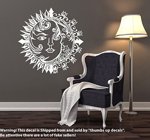 SUN WALL DECAL Bedroom Decals Sun And Moon Crescent Dual Symbol Vinyl Sticker Night Bohemian Stickers Boho Decor Ethnic Decoration T226