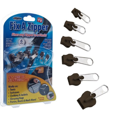 Trademark Poker 82-02133BR Fix A Zipper 6 Pack - Brown - As Seen on TV
