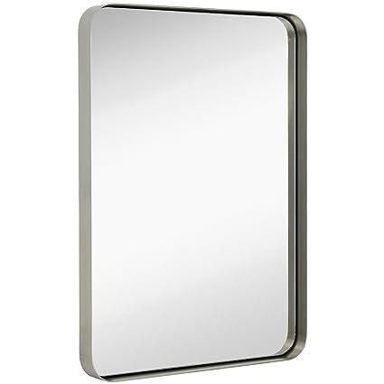 Amazon.com: Hamilton Hills Contemporary Brushed Metal Wall Mirror ...