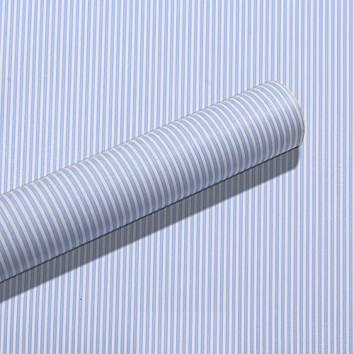 SimpleLife4U Blue White Stripes Shelf Liner Drawer Units Decor Sticker Self-Adhesive Contact Paper 17.7 Inch By 9.8 (White Stripe Striped Wallpaper)