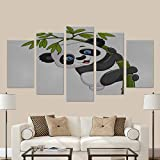 InterestPrint Cute Funny Baby Panda Hanging on the Bamboo Picture Painting Canvas Print Wall Art For Living Room Bedroom Home Decorations (No Frame)