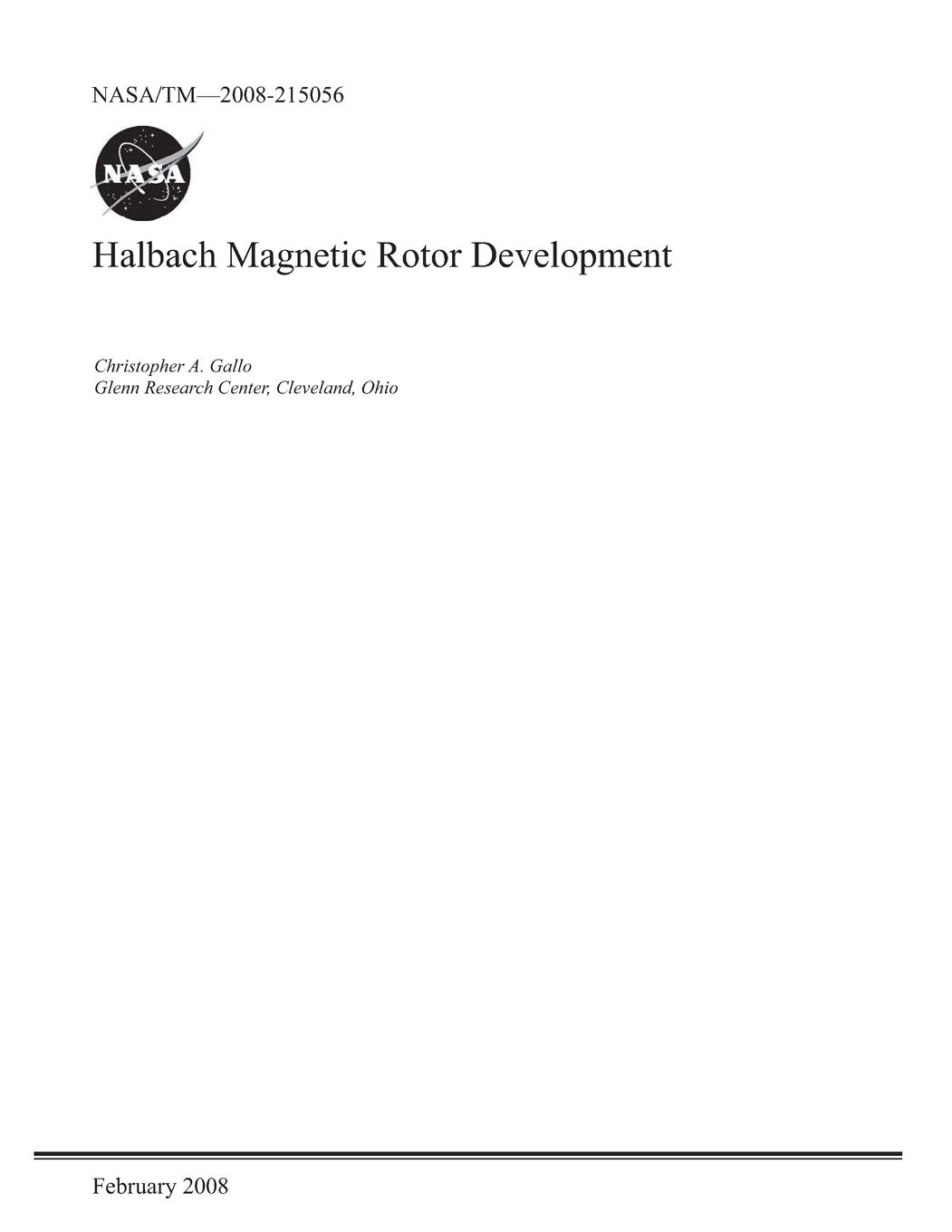 Halbach Magnetic Rotor Development: National Aeronautics and