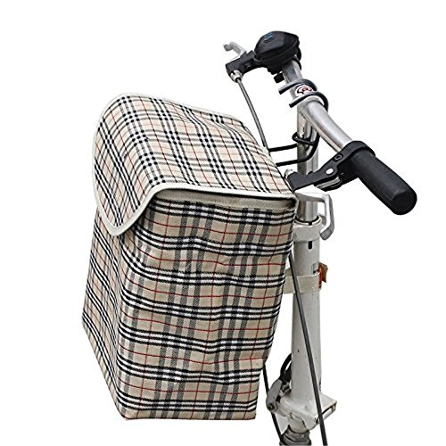 Front Mount Cargo Basket (Fold-up Metal Canvas Bike Basket,Sanmersen Folding Portable Canvas Front Handlebar Bicycle Basket with Detachable Hook Removable bag)