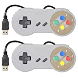 Mekela 2 Packs 4.6 feet Classic Retro USB wired Controller Gamepad resembles SNES for Windows PC MAC (Color Color)