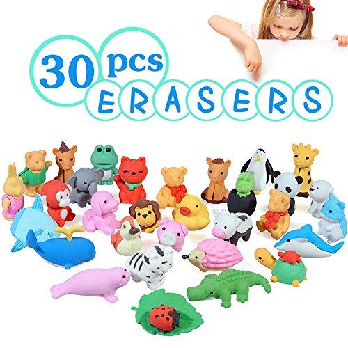 Acekid Animal Erasers for Kids, 30pcs Japanese