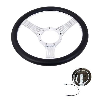 "steering wheels \u0026 accessories14\"" billet chrome banjo style steering wheel with half wrap black leather\u0026horm button"