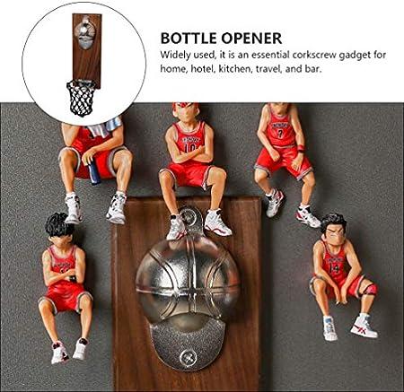 Abaodam Abridor de botellas montado en la pared, novedad de baloncesto abridor de cerveza con tapa Catcher imanes de refrigerador para amantes de la cerveza, padre y amigos regalo