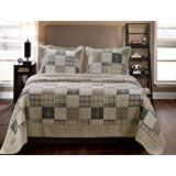 Greenland Home Oxford Quilt Set, 3-Piece (GL-1304EMSQ)