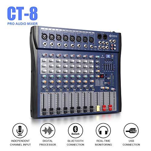 Good sound!!!USB Bluetooth dj controller mixer professional amplifier 8 channel audio Digital Effect karaoke KTV Wedding mixer
