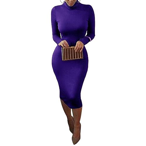 Dora Bridal Womens Turtleneck Long Sleeve Slim Bodycon Tight Dress