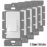 Enerlites 51300 3-Way LED Dimmer Switch Universal Lighting Control for LED, CFL, Incandescent, Halogen, White - 5 Pack