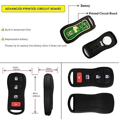 YITAMOTOR 2 Pack Car Key Fob Replacement Compatible for Nissan Infiniti Keyless Entry Remote Control for KBRASTU15 CWTWB1U758 CWTWB1U821: Car Electronics