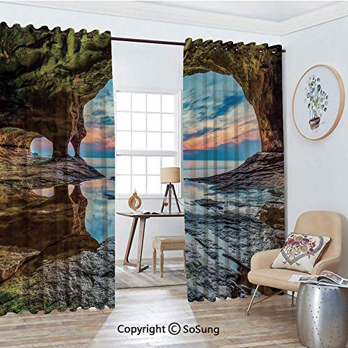 Thermal Insulated Blackout Patio Door Drapery,Rock Shelter with Lake Magical Up on The Sea Mediterranean Wonders Wet Photo Room Divider Curtains,2 Panel Set,100