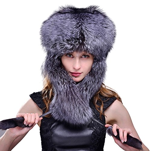 URSFUR Women's Silver Indigo Fox Full Fur Russian Ushanka Trapper Hats Natural Color (One Size, Natural Color) by URSFUR