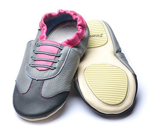 Jinwood designed by amsomo Verschiedene Modelle - Barfußschuhe - Hausschuhe für Erwachsene - Echt Leder - Damen - Herren - Mini Shoes DIV. Groeßen 36/37-44/45 athletics fuchsia/grey