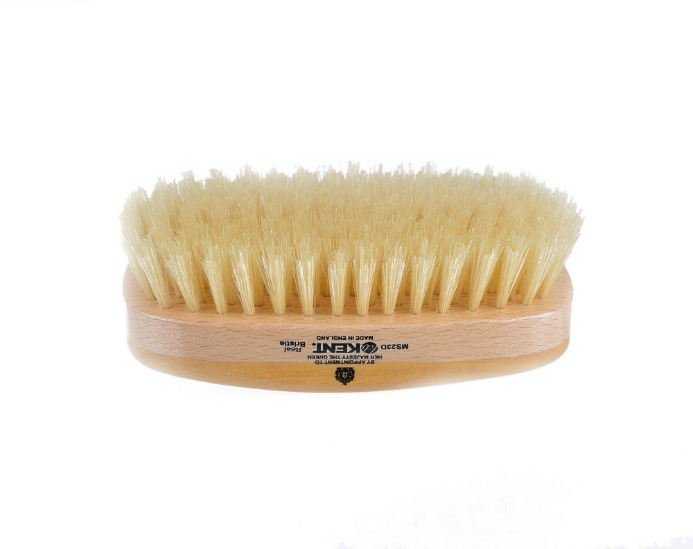 Kent MS23D Finest Men's Range Military Style Rectangular Satin and Beech Wood Natural Bristle Brush