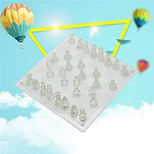LBZJD Ajedrez de Cristal 25 * 25cm de Cristal de Vidrio Esmerilado Tablero de ajedrez Juego de niños Juego en casa Entretenimiento para Adultos Juguete Tablero de ajedrez Profesional