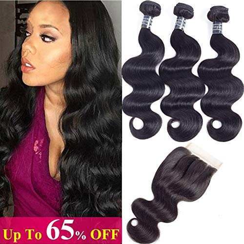 Amella Hair Brazilian Body Wave Virgin Hair 3 Bundles with Three Part Closure (14 16 18+12,Natural Black) 100% Unprocessed 8A Brazilian Body Wave Human Hair Weft with Lace Closure Brazilian Body Wave