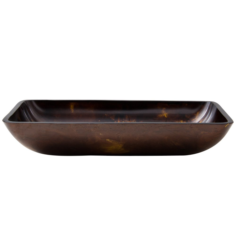 VIGO Rectangular Brown and Gold Fusion Glass Vessel Bathroom Sink