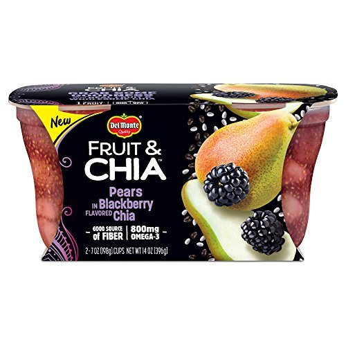 Del Monte Fruit & Chia Snack Cups, Pears in Blackberry Flavored Chia, 7 oz (Fruit Packages)