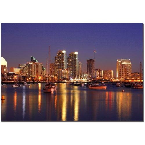 Diego Night Light - San Diego, CA by Master's Art, 22x32-Inch Canvas Wall Art