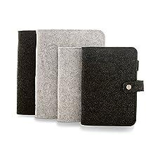 Zhi Jin A5 Wool Felt Refillable Notebook Binder Journal Hard Cover Notepad Diary Memo Pen Holder Gray Blank Paper