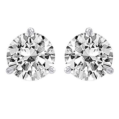 3/4 Carat Solitaire Diamond Stud Earrings 14K White Gold Round Brilliant Shape 3 Prong Screw Back (I-J Color, I1 Clarity)